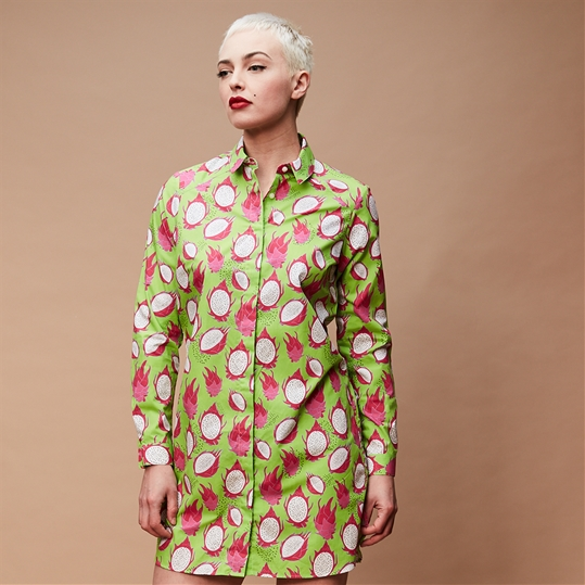 Green Dragon Fruit Shirt Dress