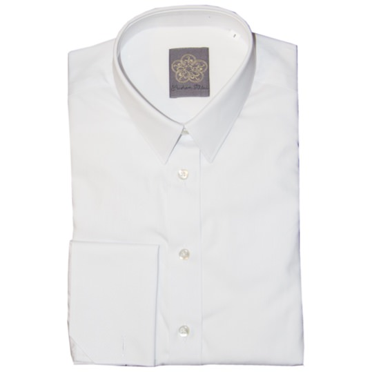 Ladies Plain White Double Cuff Shirt
