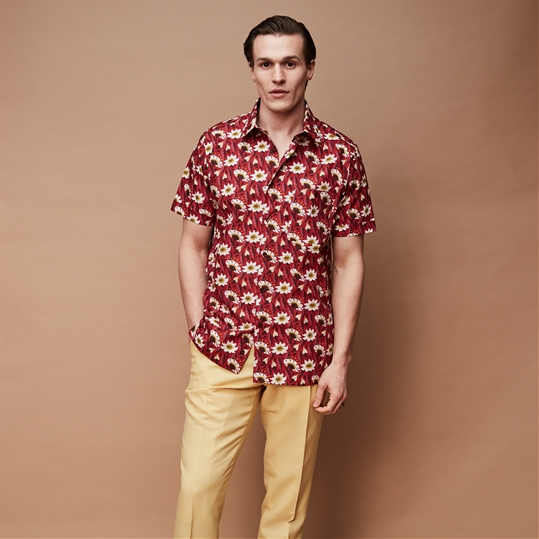 Crimson Floral Short Sleeve Shirt