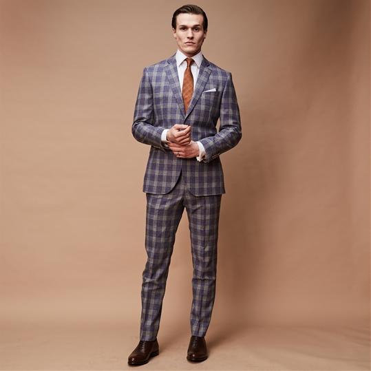 Blue Plaid 2 Piece Suit