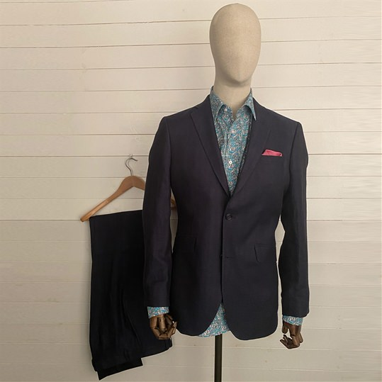 Blue Herringbone Linen 2 Piece Suit