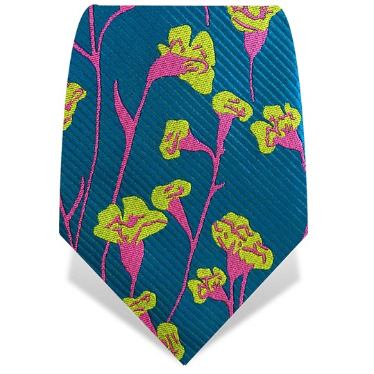 Blue & Yellow Carnations Tie