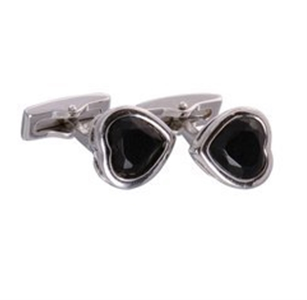 Black Gemstone Heart Cufflinks