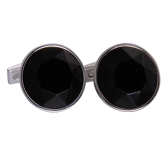 Black Silver Round Gem Cufflinks