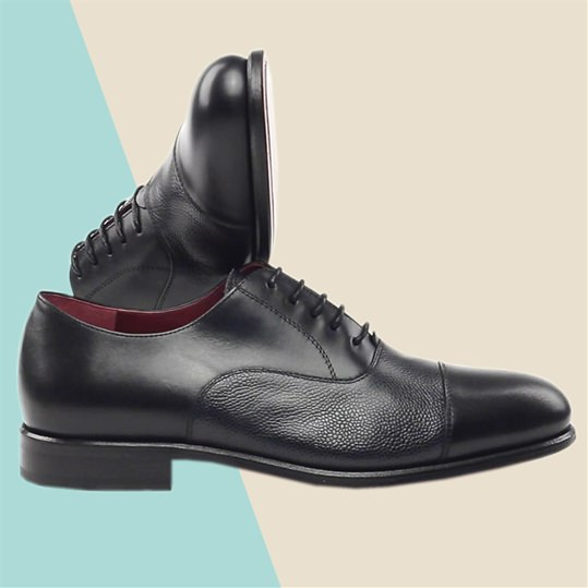 Black Pebble Leather Oxford Shoe