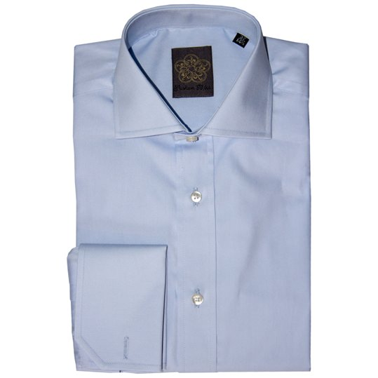 Light Blue Plain Cotton Double Cuff Shirt