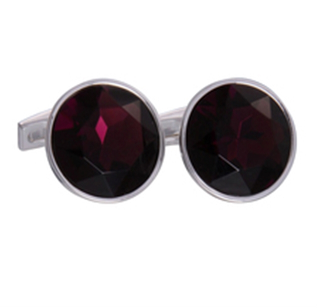 Red Silver Round Gem Cufflinks