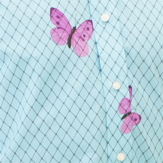 Blue Large Butterfly Net Shirt