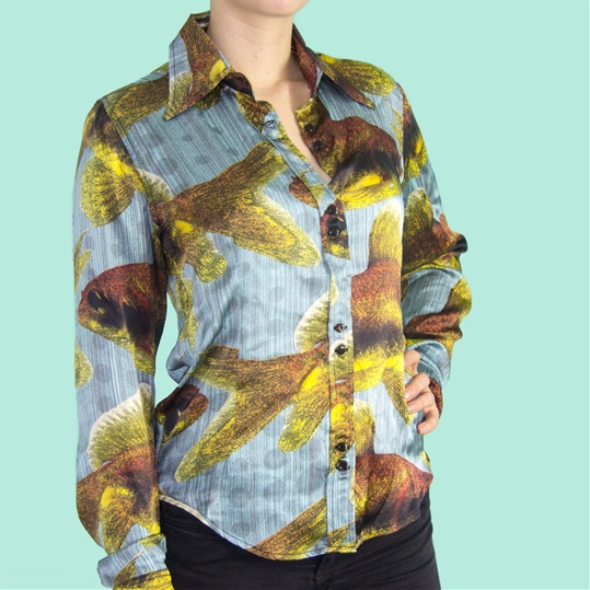 Womens Light Blue Silk Goldfish Shirt