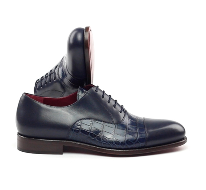 Navy Croc Leather Oxford Shoe