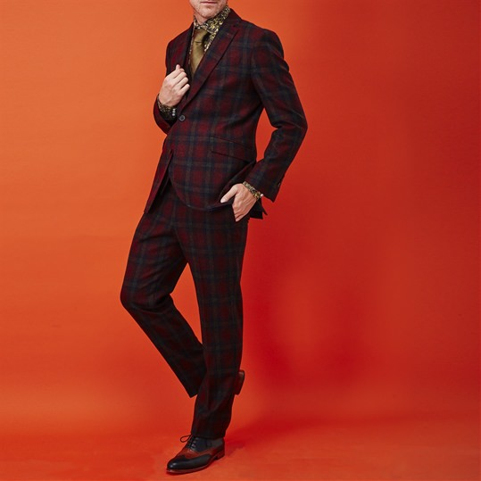 Maroon Check Wool Suit