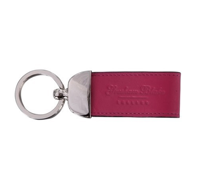 Hot Pink Leather Keyring