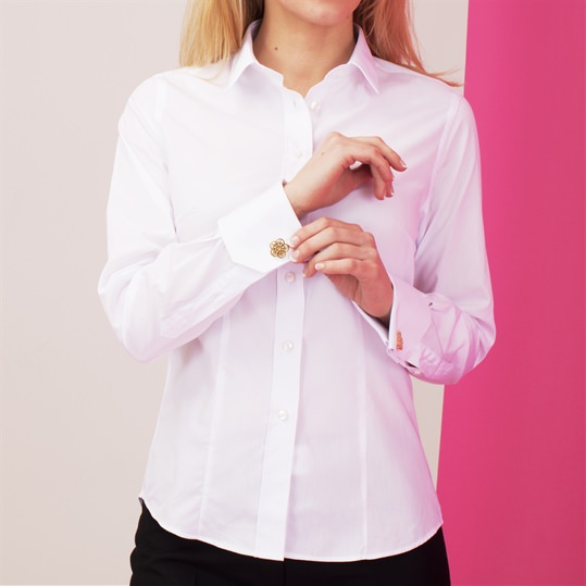 Womens Plain White Double Cuff Shirt