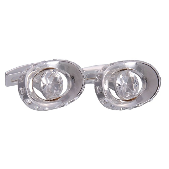 Silver & Clear Gemstone Eye Cufflinks