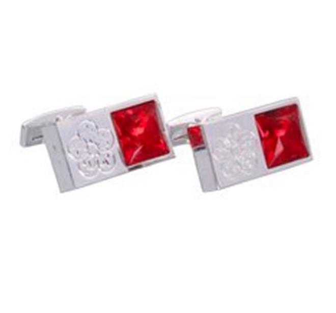 Silver & Red Gemstone Emblem Cufflinks