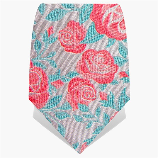 Turquoise & Pink Roses Tie