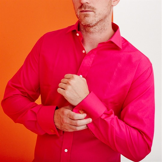 Bright Pink Double Cuff Cotton Shirt