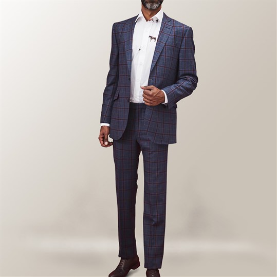 Blue Oatman Check 2 Piece Suit