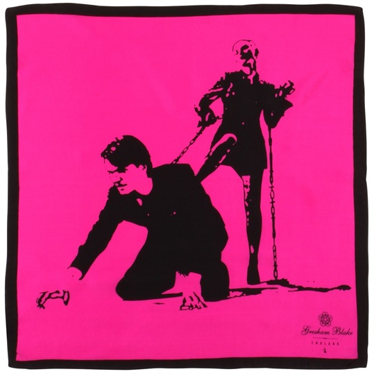 Pink Love Honor and Obey Pocket Square