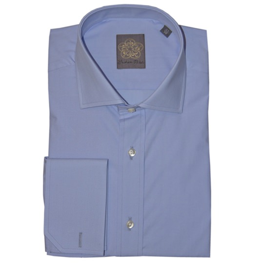 Blue Plain Cotton Double Cuff Shirt