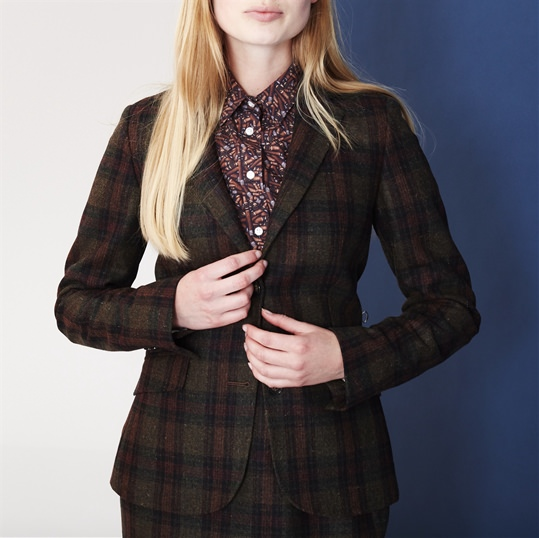 Ladies Green Check Wool Jacket