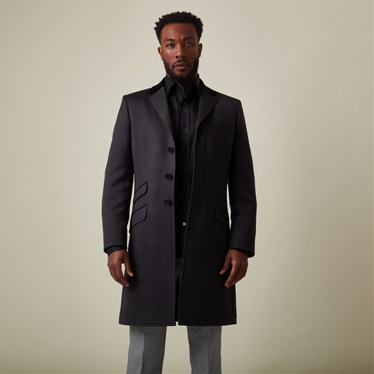Charcoal Merino Wool Covert Coat