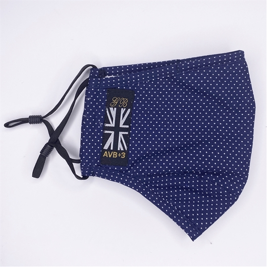 Navy Polka Dot Face Mask AVB+3