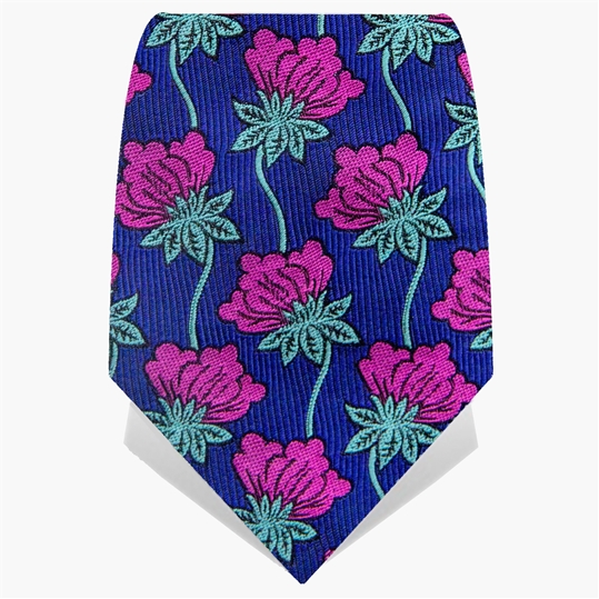 Purple & Navy Hanging Flowers Tie