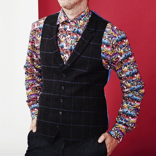 Black & Pink Window Pane Check Waistcoat