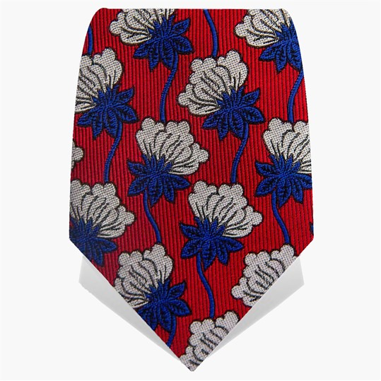 Red & Blue Hanging Flower Tie