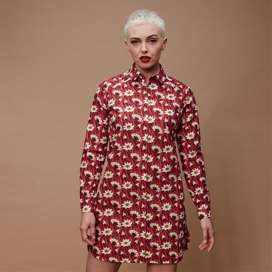 Crimson Floral Shirt Dress