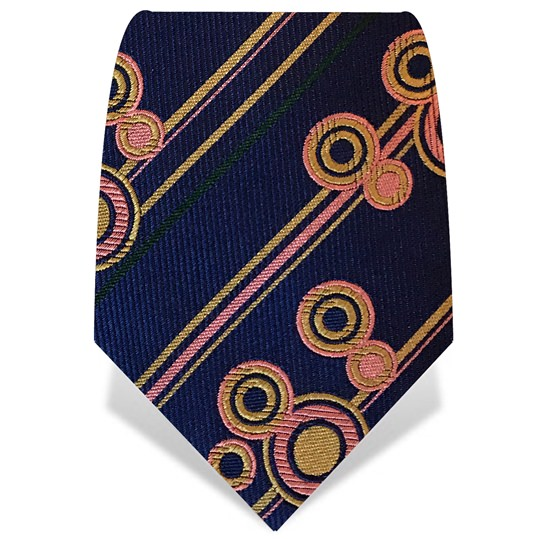 Navy Circles & Stripes Tie