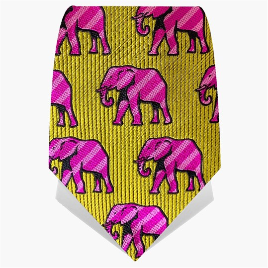Yellow & Pink Elephants Tie