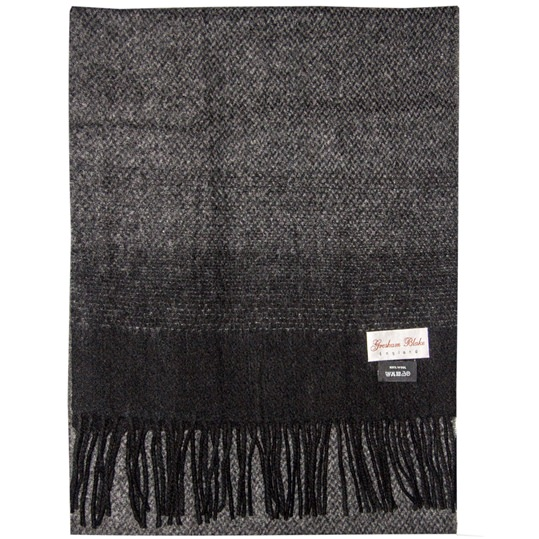 Charcoal Herringbone Wool Scarf