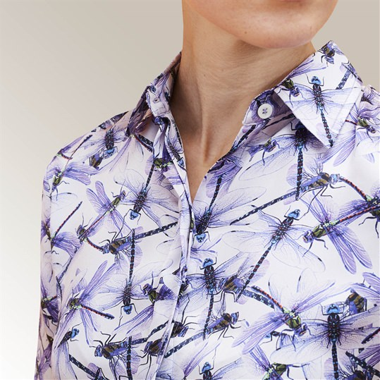 Purple Dragonfly Silk Shirt