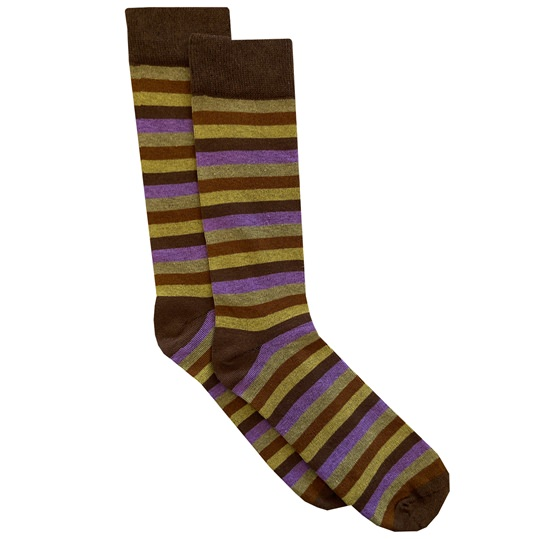 Brown & Purple Horizontal Stripe Sock