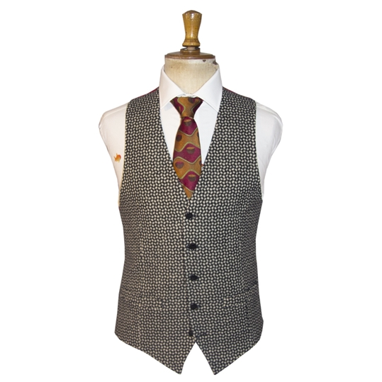 Black and White Tweed Polka Waistcoat
