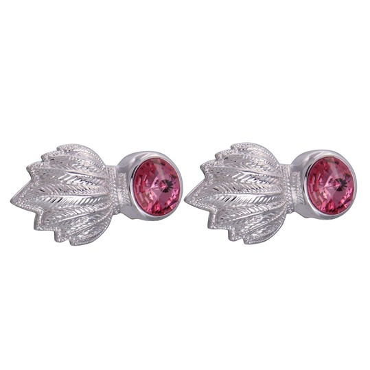 Silver & Pink Feather Gem Cufflinks