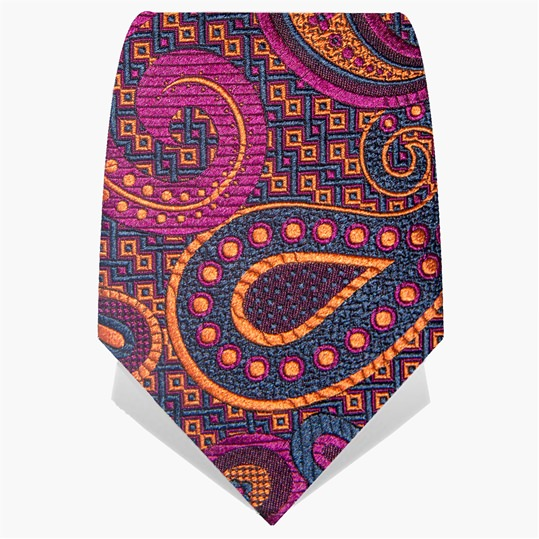 Purple and Orange Paisley Oversize Tie