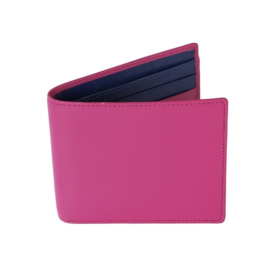 Pink and Royal Blue Leather Wallet