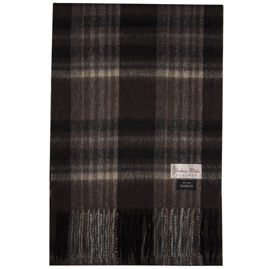 Brown Plaid Wool Scarf
