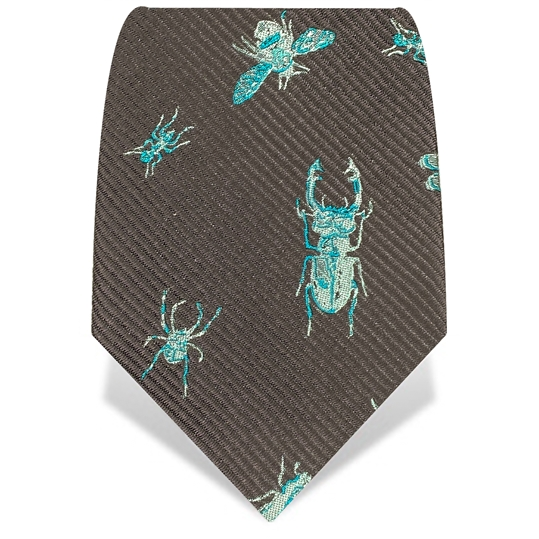 Black & Turquoise X-Ray Insects Luxury Silk Tie
