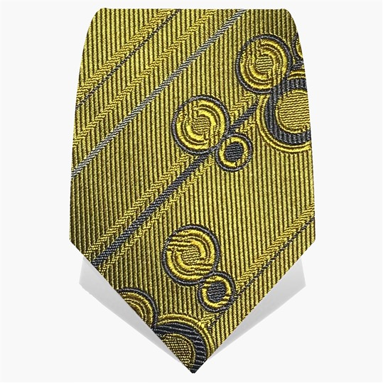 Yellow Stripes & Circles Tie