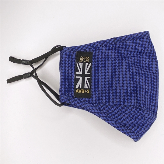 Blue & Black Houndstooth Face Mask