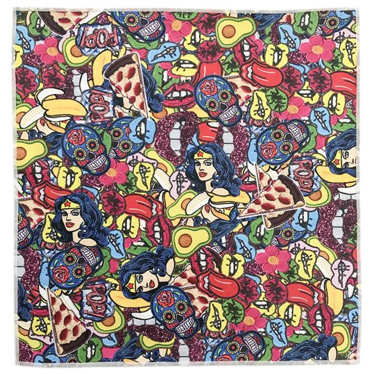 Girl Wonder Retro Patch Microfiber Pocket Square