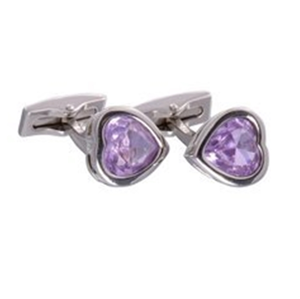 Lilac Gemstone Heart Cufflinks