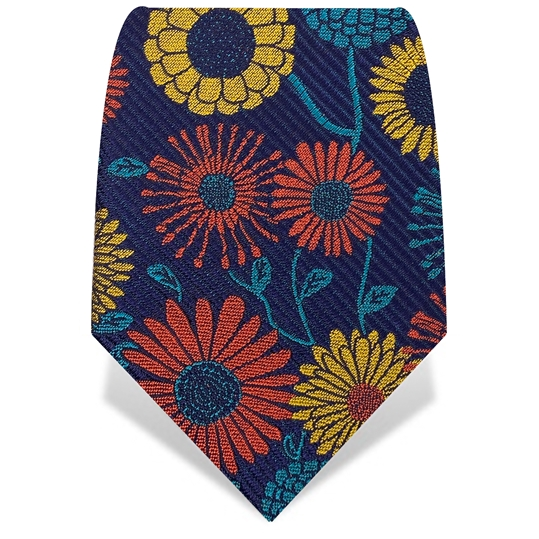 Orange, Yellow Retro Flowers on Navy Silk Tie