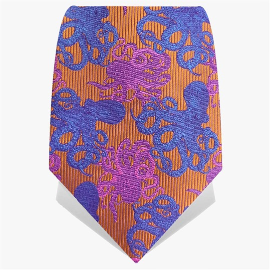 Orange & Blue Octopus Tie