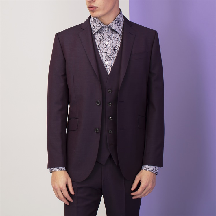 Purple Mohair and Wool Waistcoat