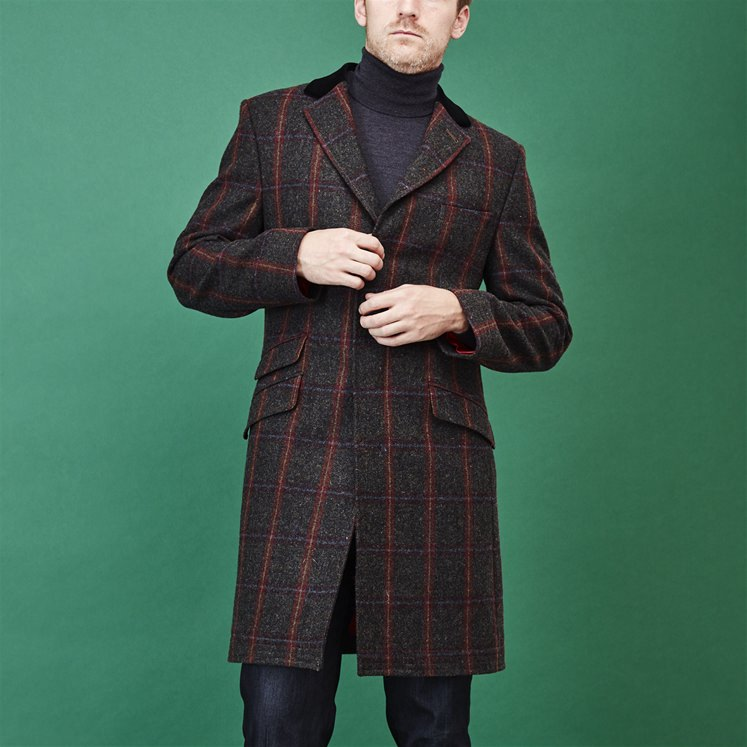 Brown Check Covert Coat